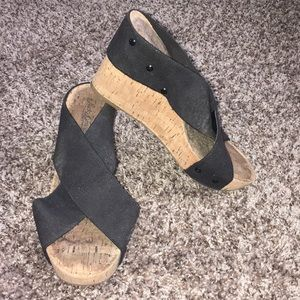 Lucky Brand Black Cross Wedge Sandals